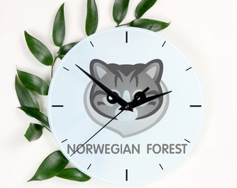 A clock with a Norwegian Forest cat. A new collection with the cute Art-Dog cat