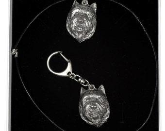 NEW, Cairn Terrier (front), dog keyring and necklace in casket, ELEGANCE set, limited edition, ArtDog . Dog keyring for dog lovers