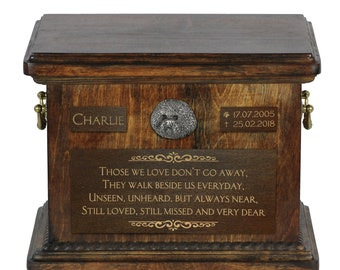 Urn for dog's ashes with relief and sentence with your dog name and date - Bichon Frise, ART-DOG. Cremation box, Custom urn.