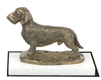 Dachshund, dog on white wooden base statue, limited edition, ArtDog