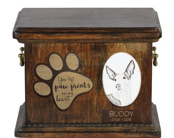 Urn for dog's ashes with ceramic plate and description - Ibizan Hounds, ART-DOG Cremation box, Custom urn.