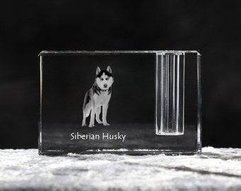 Siberian Husky, crystal pen holder with dog, souvenir, decoration, limited edition, Collection