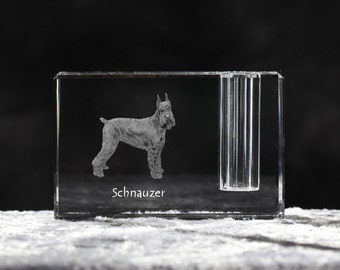 Schnauzer, crystal pen holder with dog, souvenir, decoration, limited edition, Collection