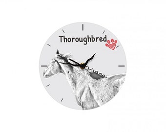Thoroughbred, Free standing MDF floor clock with an image of a horse.