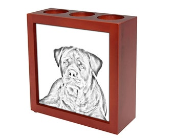 Rottweiler - Wooden stand for candles/pens with the image of a dog ! NEW COLLECTION!