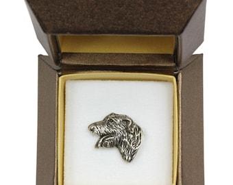 NEW, Irish Wolfhound (head), dog pin, in casket, limited edition, ArtDog