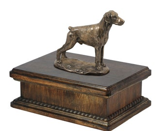 Exclusive Urn for dog's ashes with a Dobermann uncropped statue, ART-DOG. New model Cremation box, Custom urn.