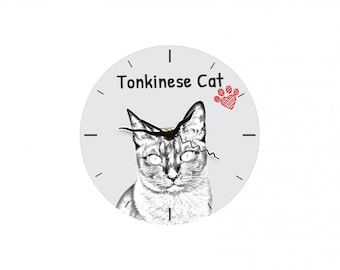Tonkinese cat, Free standing MDF floor clock with an image of a cat.