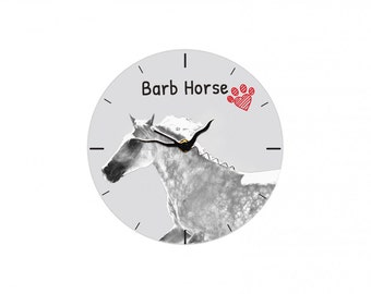 Barb horse, Free standing MDF floor clock with an image of a horse.