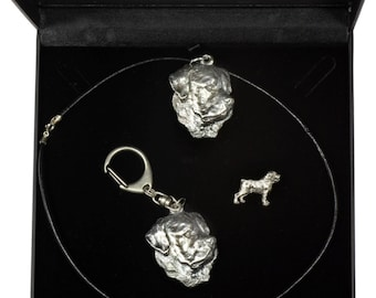 NEW, Rottweiler, dog keyring, necklace and pin in casket, DELUXE set, limited edition, ArtDog . Dog keyring for dog lovers