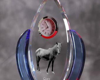 Giara horse-   crystal clock in the shape of a wings with the image of a pure-bred horse.