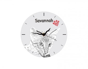 Savannah cat, Free standing MDF floor clock with an image of a cat.