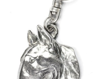 NEW, Bullterrier (flat medallion), dog keyring, key holder, limited edition, ArtDog . Dog keyring for dog lovers