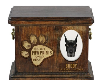 Urn for dog ashes with ceramic plate and sentence - Geometric Great Dane cropped, ART-DOG. Cremation box, Custom urn.