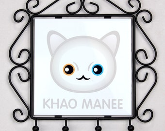A key rack, hangers with Khao Manee cat. A new collection with the cute Art-dog cat