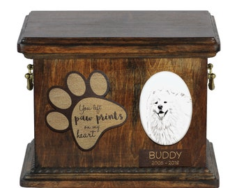 Urn for dog's ashes with ceramic plate and description - Samoyed, ART-DOG Cremation box, Custom urn.