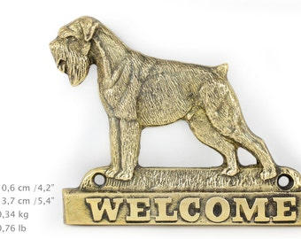Schnauzer (uncropped), dog welcome, hanging decoration, limited edition, ArtDog