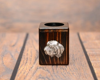 Basset Vendeen (Petit Basset Griffon Vendéen) - Wooden candlestick with dog, souvenir, decoration, limited edition, Collection