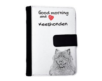 Keeshond- Notebook with the calendar of eco-leather with an image of a dog! NEW COLLECTION!