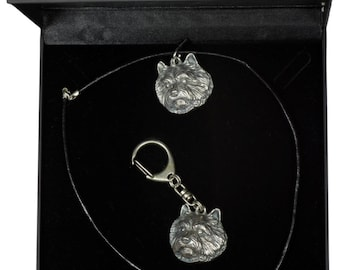 NEW, Norwich Terrier, dog keyring and necklace in casket, DELUXE set, limited edition, ArtDog . Dog keyring for dog lovers