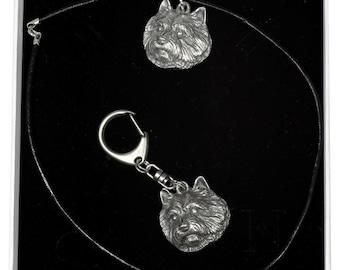 NEW, Norwich Terrier, dog keyring and necklace in casket, ELEGANCE set, limited edition, ArtDog . Dog keyring for dog lovers