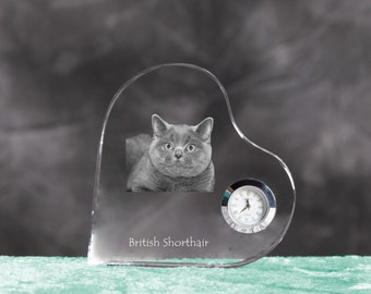 British Shorthair- crystal clock in the shape of a heart with the image of a pure-bred cat.