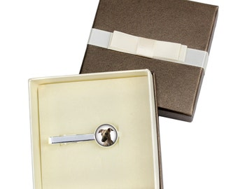 Whippet. Tie clip with box for dog lovers. Photo jewellery. Men's jewellery. Handmade
