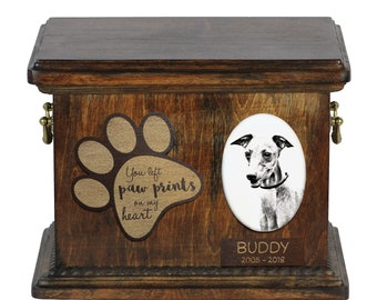 Urn for dog's ashes with ceramic plate and description - Azawakh, ART-DOG Cremation box, Custom urn.