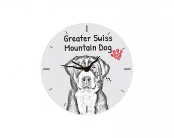 Greater Swiss Mountain Dog, Free standing MDF floor clock with an image of a dog.