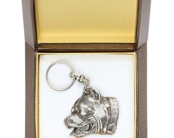 NEW, Pit Bull, dog keyring, key holder, in casket, limited edition, ArtDog . Dog keyring for dog lovers