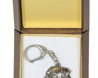 NEW, American Bulldog, dog keyring, key holder, in casket, limited edition, ArtDog . Dog keyring for dog lovers