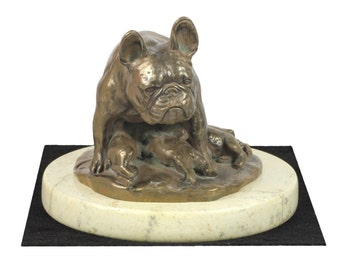 French Bulldog , dog sand marble base statue, limited edition, ArtDog. Made of cold cast bronze. Perfect gift. Limited edition