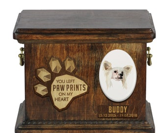 Urn for dog ashes with ceramic plate and sentence - Geometric Chinese Crested Dog, ART-DOG. Cremation box, Custom urn.