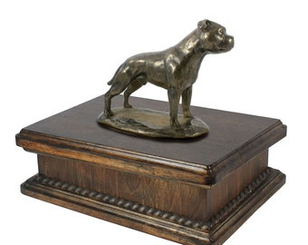 Exclusive Urn for dog's ashes with a English Staffordshire Terrier statue, ART-DOG. New model Cremation box, Custom urn.