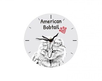 American Bobtail, Free standing MDF floor clock with an image of a cat.