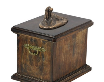 Urn for dog's ashes with a Afghan Hound statue, ART-DOG Cremation box, Custom urn.