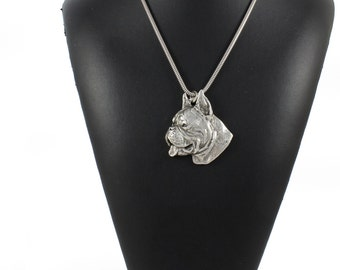 NEW, Boxer (cropped&pointed ears), German Boxer, Deutscher Boxer, dog necklace, silver cord 925, limited edition, ArtDog