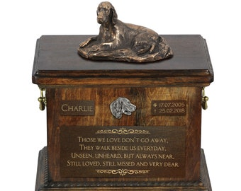 Setter lying - Exclusive Urn for dog ashes with a statue, relief and inscription. ART-DOG. Cremation box, Custom urn.