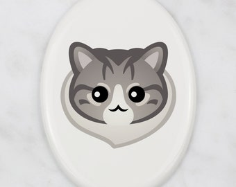 A ceramic tombstone plaque with a Norwegian Forest cat. Art-Dog cute cat