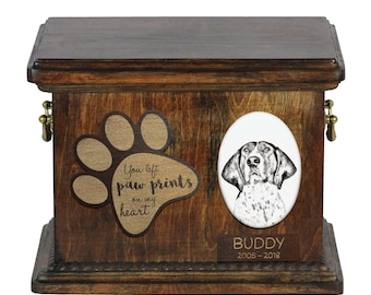 Urn for dog's ashes with ceramic plate and description - Treeing Walker Coonhound, ART-DOG