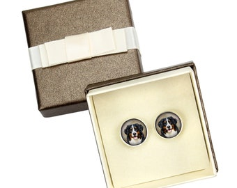 Bernese Mountain Dog. Cufflinks with box for dog lovers. Photo jewellery. Men's jewellery. Handmade