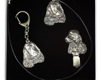 NEW, English Cocker Spaniel, dog keyring, necklace and clipring in casket, ELEGANCE set, limited edition, ArtDog