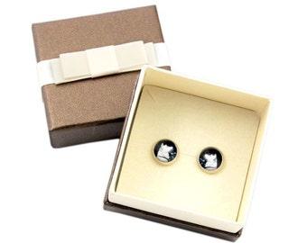 Akita Inu. Pet in your ear. Earrings with box. Photojewelry. Handmade.