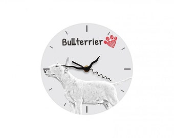 Bull Terrier, Free standing MDF floor clock with an image of a dog.