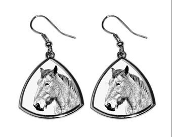 Ardennes horse, collection of earrings with images of purebred horses, unique gift. Collection!