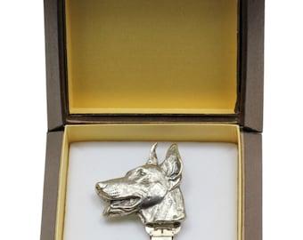 NEW, Dobermann, dog clipring, in casket, dog show ring clip/number holder, limited edition, ArtDog