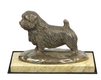 Norfolk Terrier , dog sand marble base statue, limited edition, ArtDog. Made of cold cast bronze. Perfect gift. Limited edition
