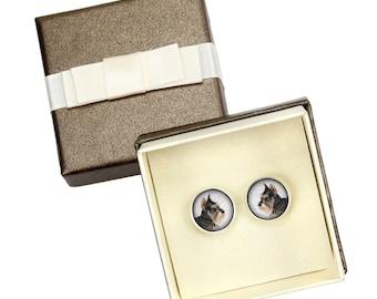 Schnauzer Cropped. Cufflinks with box for dog lovers. Photo jewellery. Men's jewellery. Handmade