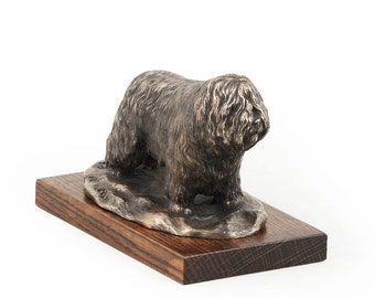 Polish Lowland Sheepdog, dog wooden base statue, limited edition, ArtDog