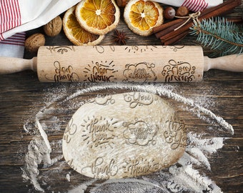 THANK YOU. Engraved rolling pin for Cookies, Embossing Rollingpin, Laser Engraved Rolling-pin. Decorating Roller